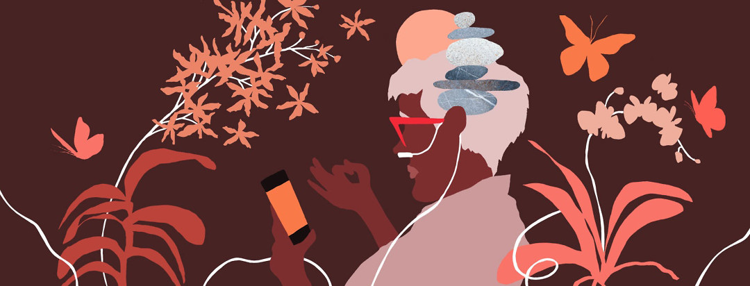 a woman on her phone is very zen, and her oxygen tubes are flowing around her, morphing into orchid flowers