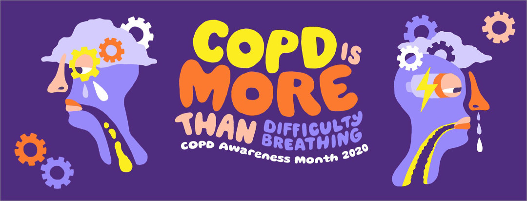 two graphic faces showing symptoms of COPD other than difficulty breathing, such as fatigue, brain fog, and depression