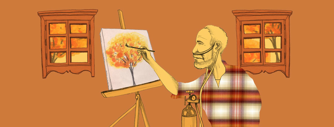 a man in orange flannel with oxygen tubes paints at an easel, his composition is the orange autumnal tree scene he can see out his window