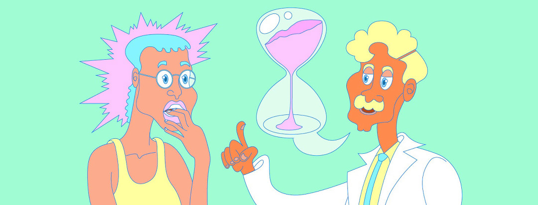 a doctor speaks but his word-bubble is actually an hour-glass losing time