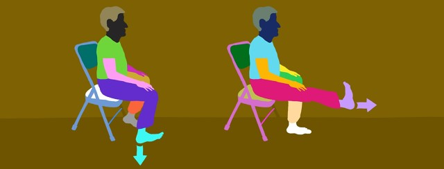 two abstract, colorful figures demonstrate how to do heel stretching exercises