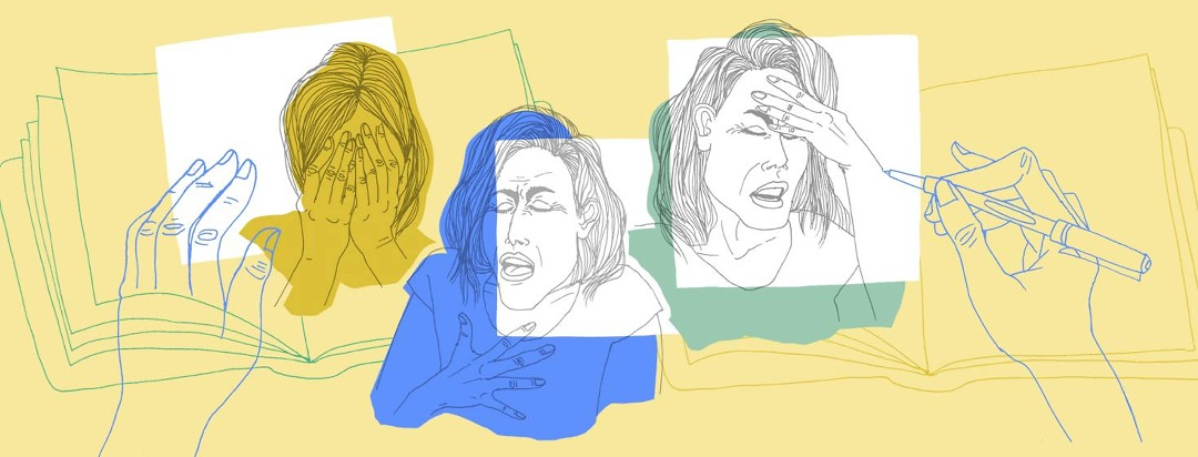 a hand is drawing portraits in a journal, each portrait depicting a different painful emotion for each day