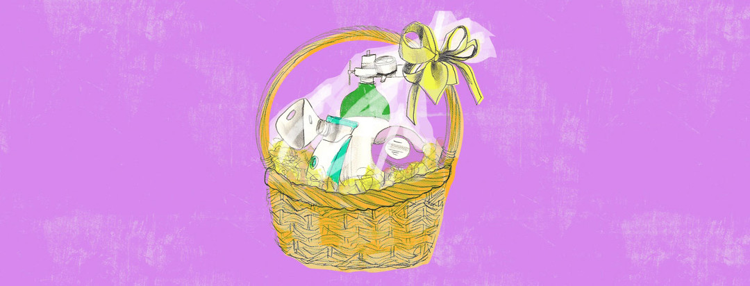 a gift basket covered in cellophane and a bow is full of assistive breathing devices