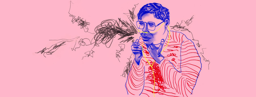 scribble drawing of a man in a striped shirt choking, and the stripes on his shirt twist and tangle over his chest