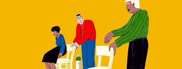 a man with an oxygen tank pulls out a chair for an older woman, as another man pulls out a chair behind him - implying we all need assistance.