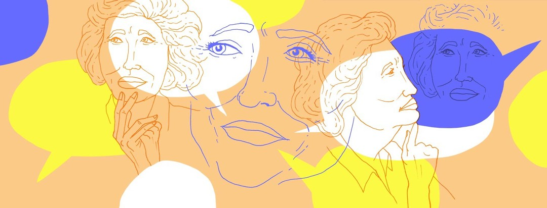 line art of a woman's face, and layered on top is more line art of her in varying states of pondering, having dialog with herself.