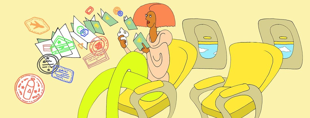 a woman on an airplane sits with her passport open as passport stamps whimsically pour out