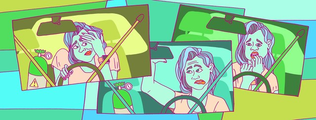 a woman in three scenes, each she is nervous and panicked in the car with her oxygen tank in the front seat