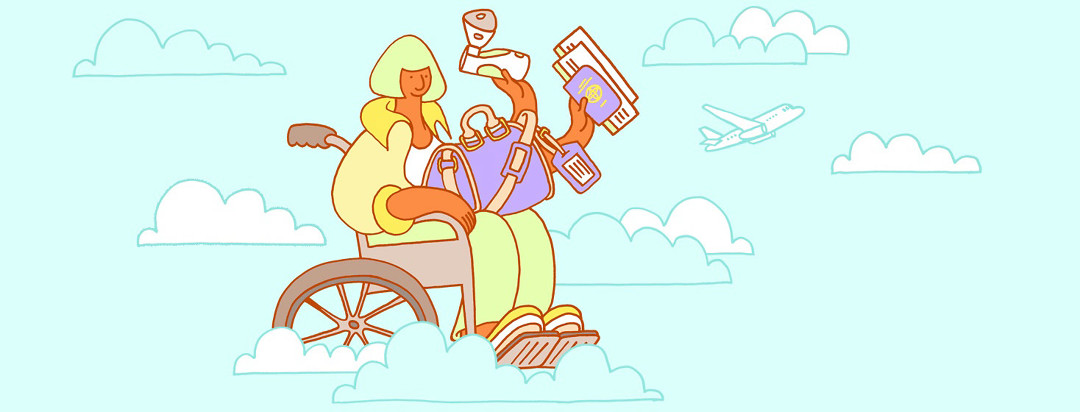 a woman in a wheelchair is floating in the clouds with her passport and nebulizer