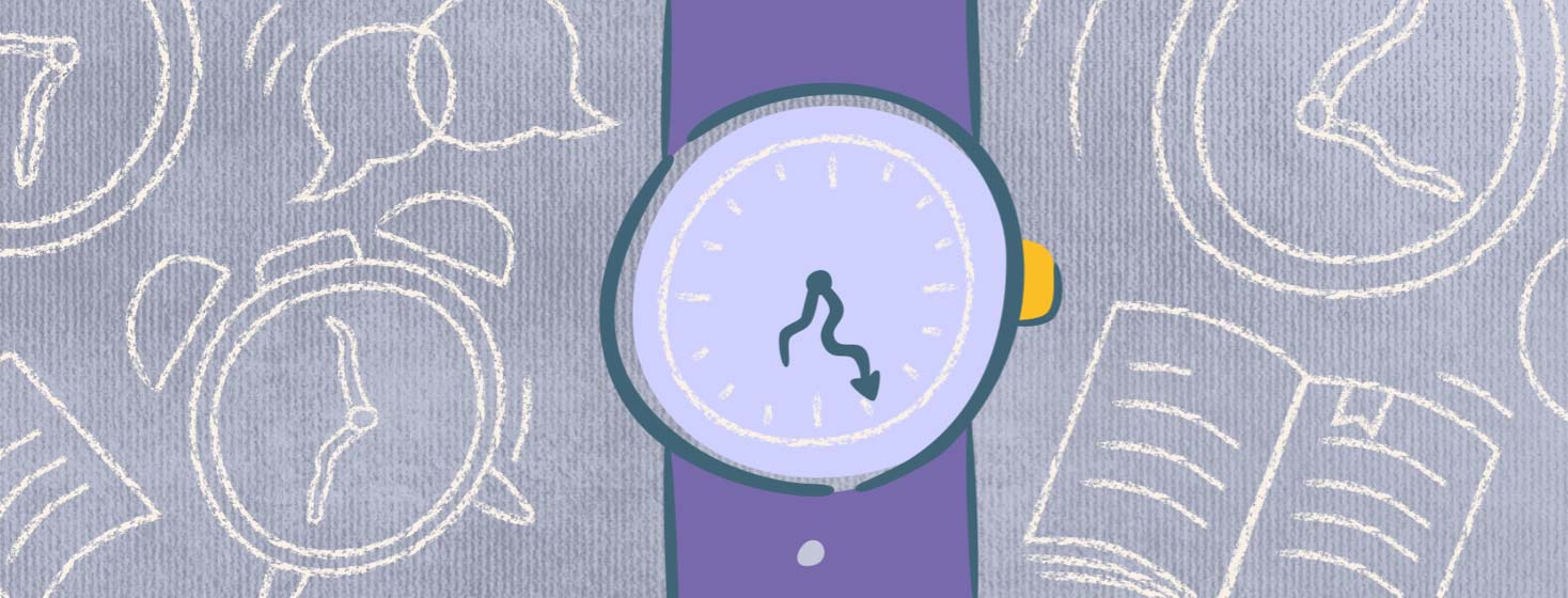 A watch with warped arms in front of other clocks, speech bubbles, and reading materials.