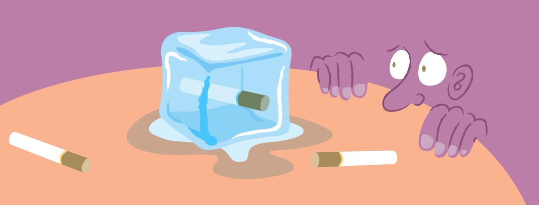 a cartoon person looks wide-eyed at a single cigarette frozen in a block of ice