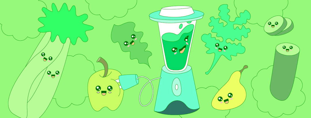 adorable cute cartoon vegetables are swirling around a blender, waiting to get juiced