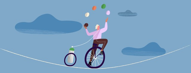 A woman riding a unicycle juggling on a tight rope with an oxygen tank
