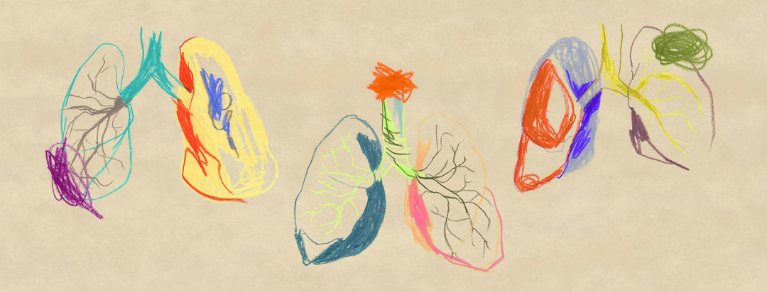 three artistic interpretations of lungs, created in oil pastels
