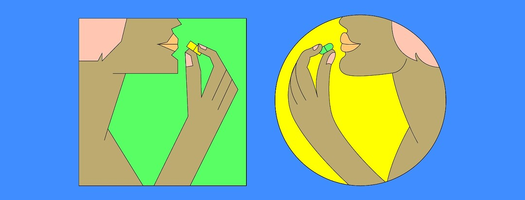 a square and round version of the same person taking square pill and a round pill