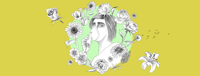a woman with a nebulizer is surrounded by a wreath of spring flowers