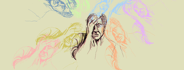 a drawing of a man is twisted and blurred to create an effect similar to a feeling of dizzy vertigo