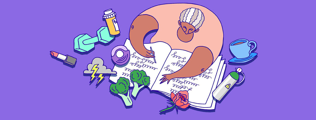 a woman journaling, both her copd symptoms and also her everyday feelings and activities and observations