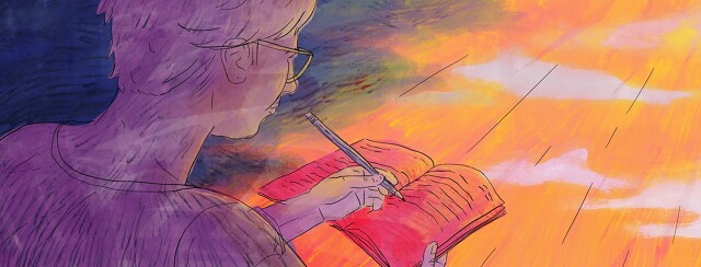 Person writing in a journal with dark storm clouds on left behind them and rays of light to their right.