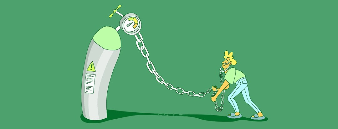 a person is chained to an oxygen tank because they are dependent on oxygen