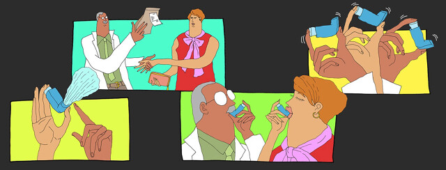 a pharmacist walk his client through 4 steps of how to use an inhaler