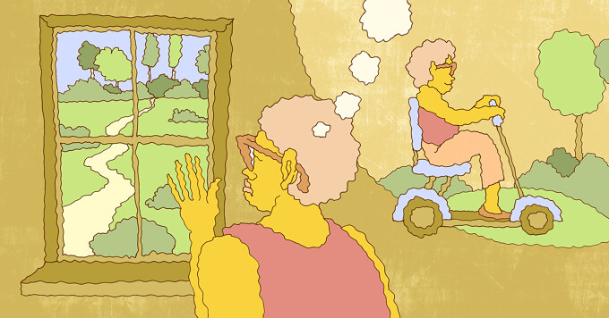 a woman stares out a window, at the park, as a thought bubble show she is considering a mobility device