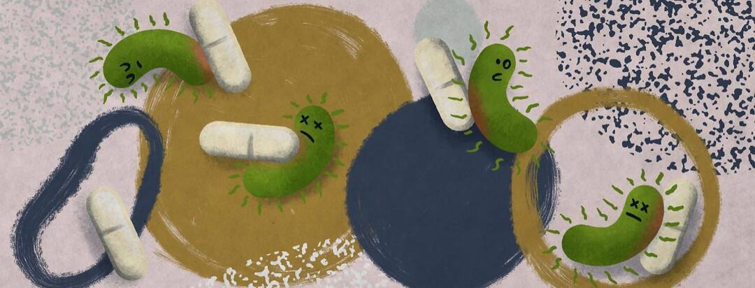 antibiotic pills attacking bacterium