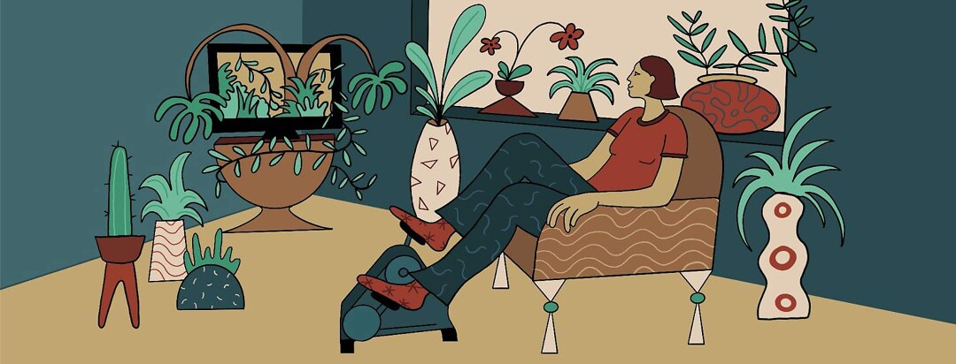 A woman sits in her living room, using a peddler and surrounded by plants. The plants are creating an indoor jungle, and popping out of her TV screen.