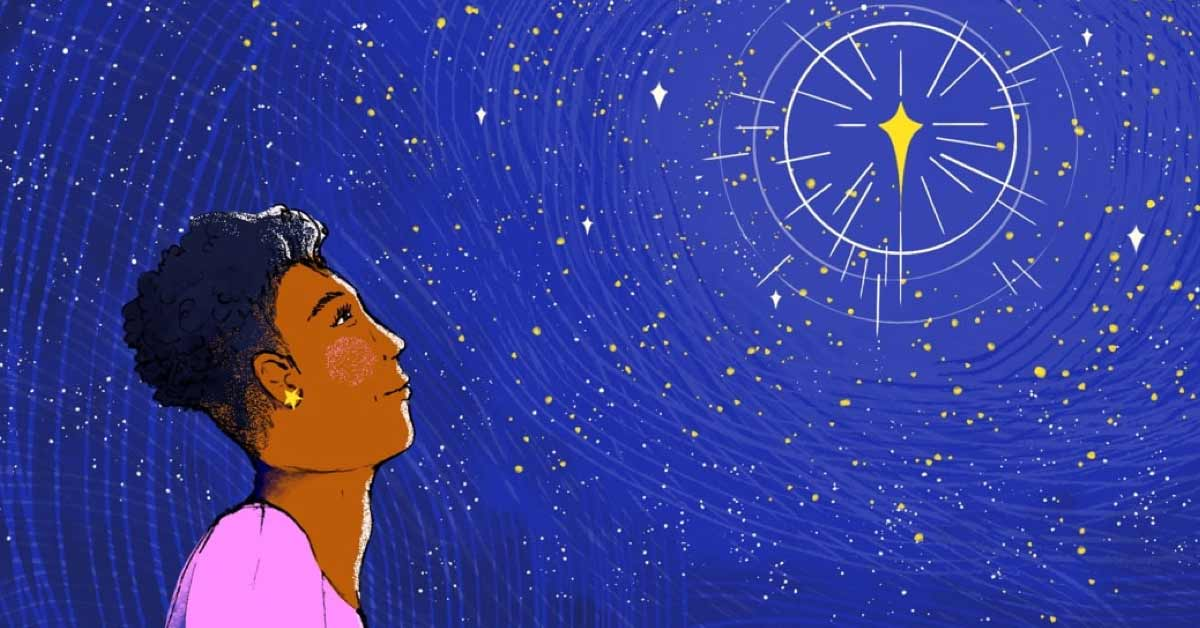 A woman looks up, hopefully, at a shining, twinkling star.
